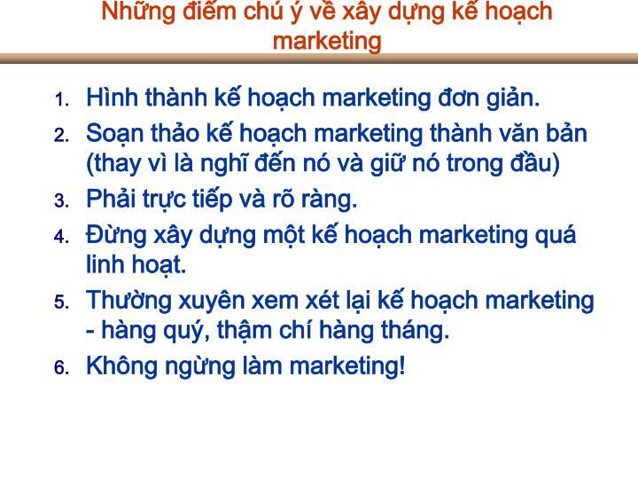 Những điểm chú ý về xây dựng kế hoạch marketing