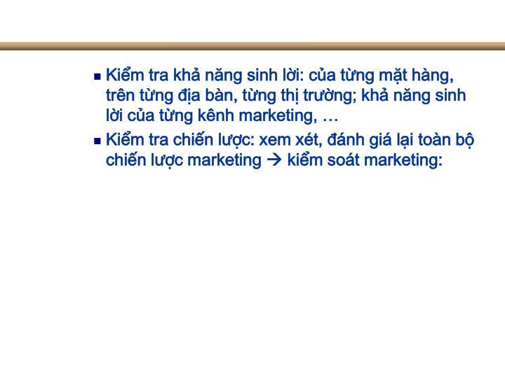 Kiểm tra khả năng sinh lời: của từng mặt hàng, trên từng địa bàn, từng thị trường; khả năng sinh lời của từng kênh marketing, …