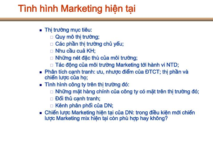 Tình hình Marketing hiện tại