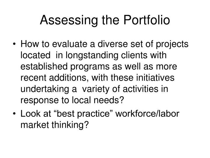 Assessing the Portfolio