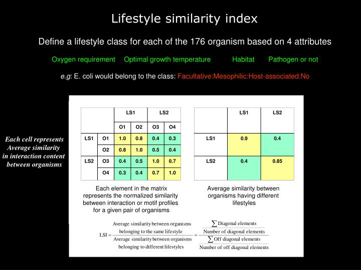 Lifestyle similarity index