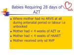 babies requiring 28 days of azt