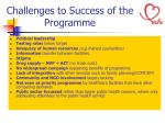 challenges to success of the programme