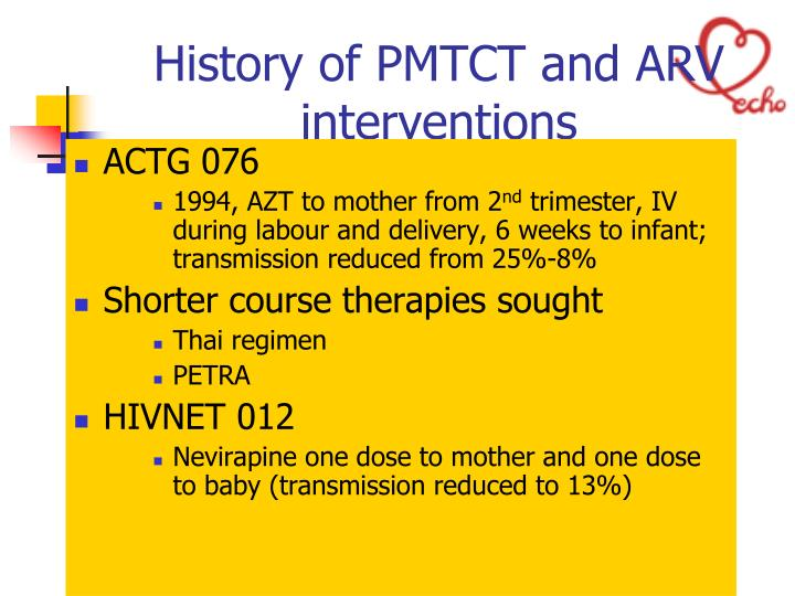 History of PMTCT and ARV interventions