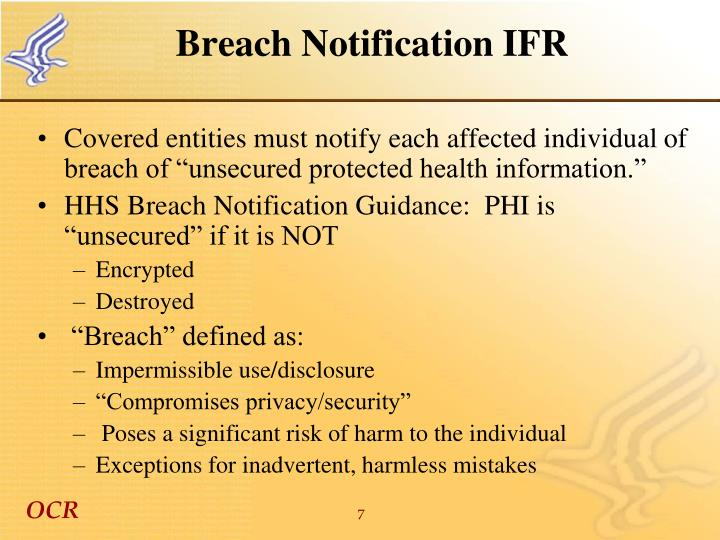 Breach Notification IFR