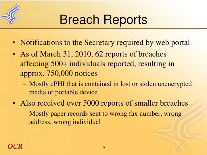 Breach Reports