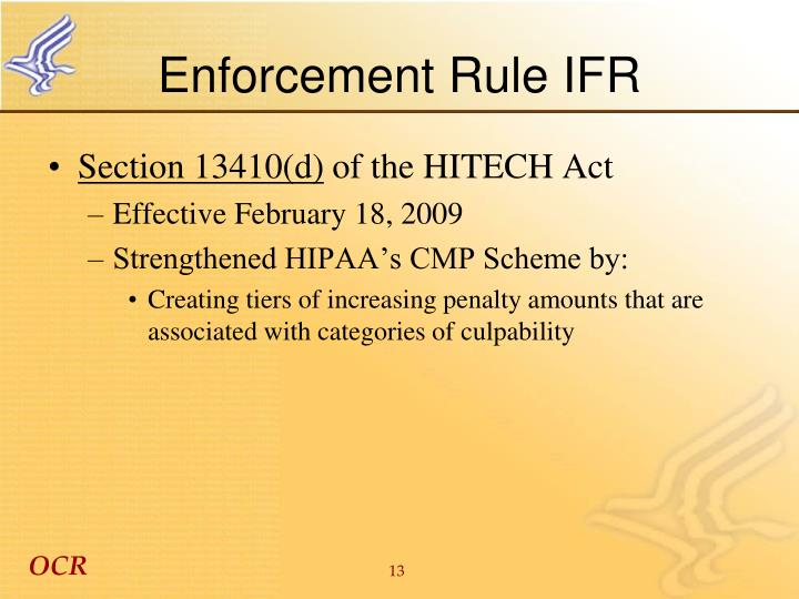 Enforcement Rule IFR