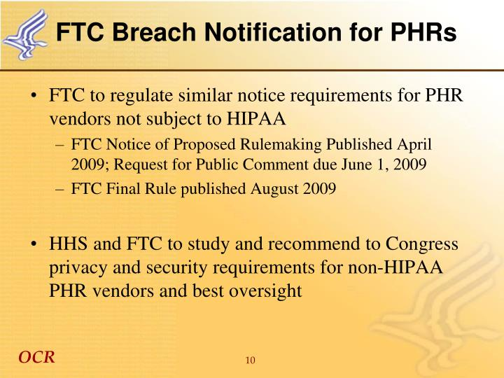 FTC Breach Notification for PHRs
