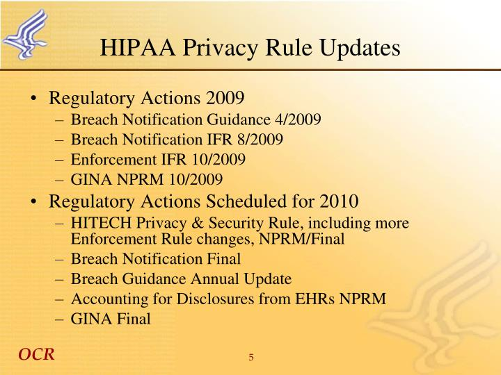 HIPAA Privacy Rule Updates
