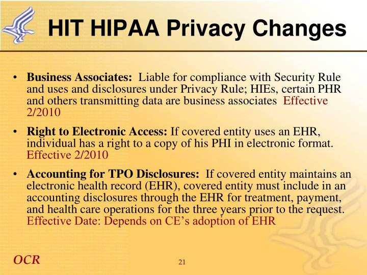 HIT HIPAA Privacy Changes