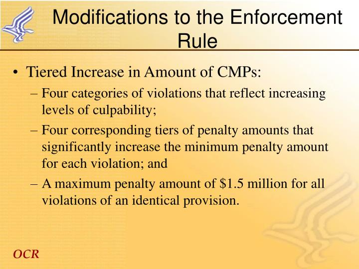 Modifications to the Enforcement Rule