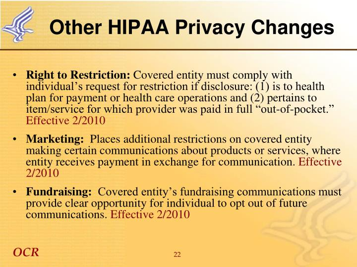 Other HIPAA Privacy Changes