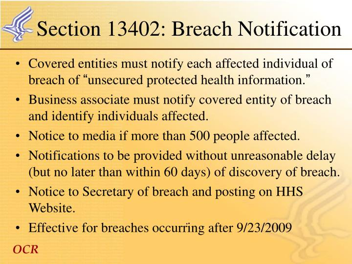 Section 13402: Breach Notification