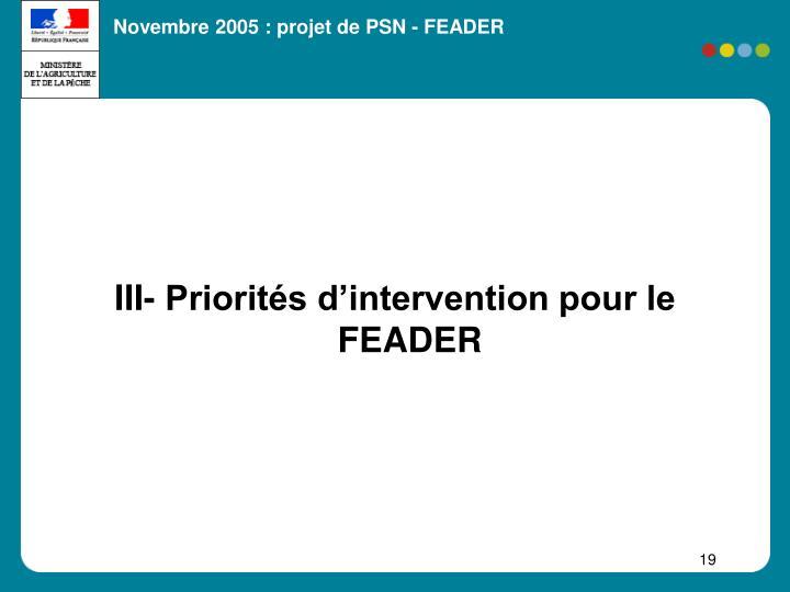 III- Priorités d'intervention pour le FEADER