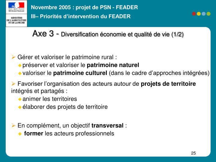 III– Priorités d'intervention du FEADER