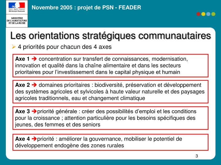 Les orientations stratégiques communautaires