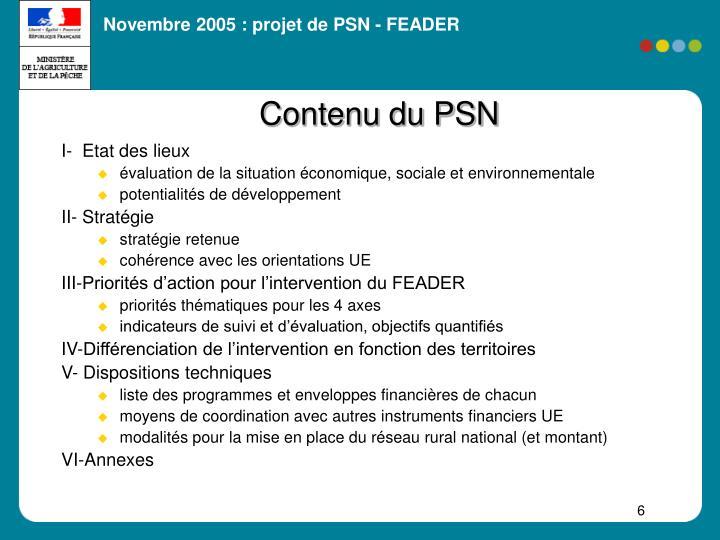 Contenu du PSN