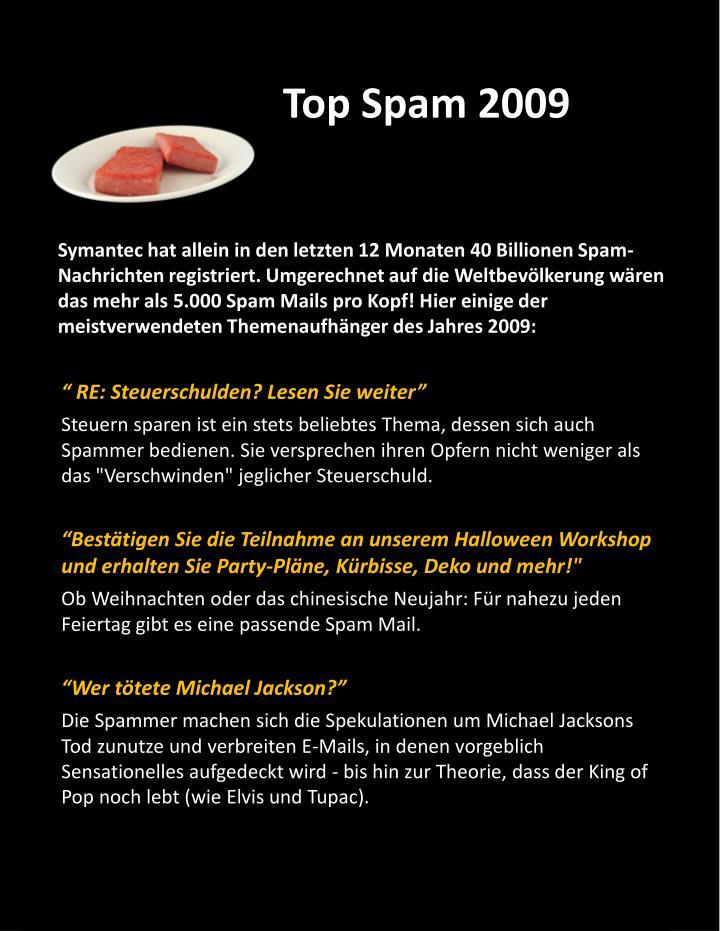 Top Spam 2009
