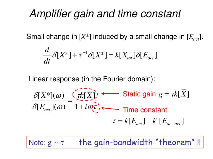 Amplifier gain and time constant