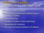 definition by example interdisciplinary ebp team skills