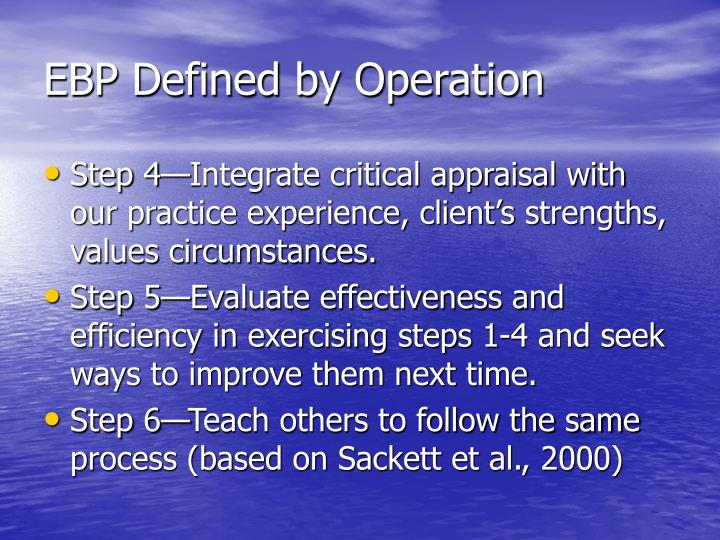EBP Defined by Operation