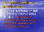 the spirit of evidence based practice