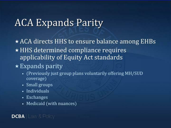 ACA Expands Parity