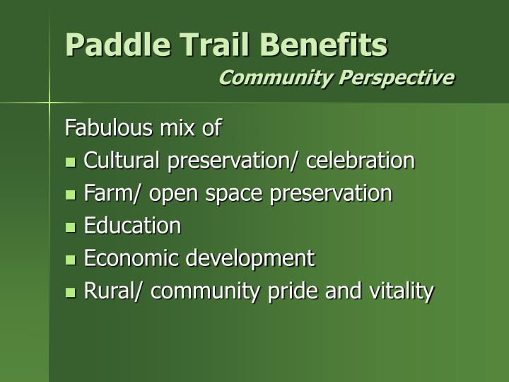 Paddle Trail Benefits