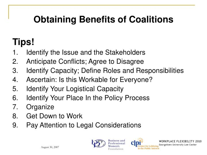 Obtaining Benefits of Coalitions
