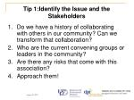 tip 1 identify the issue and the stakeholders