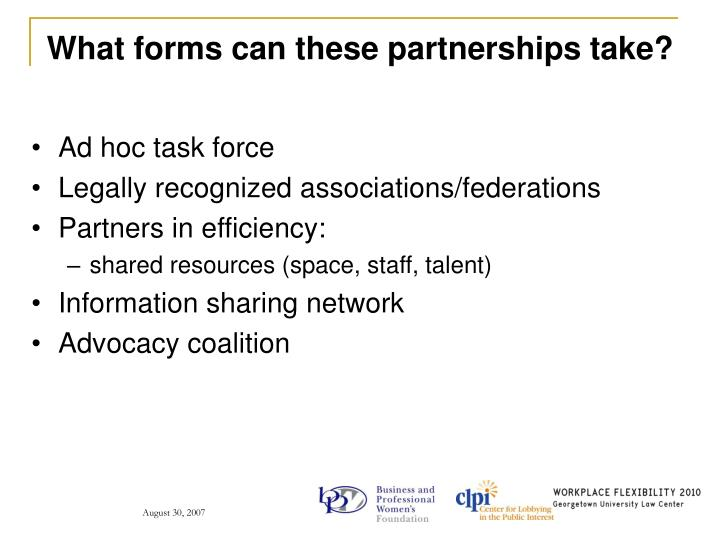 What forms can these partnerships take?