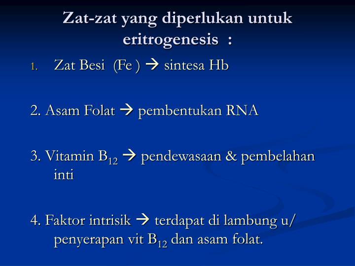 Zat-zat yang diperlukan untuk eritrogenesis  :