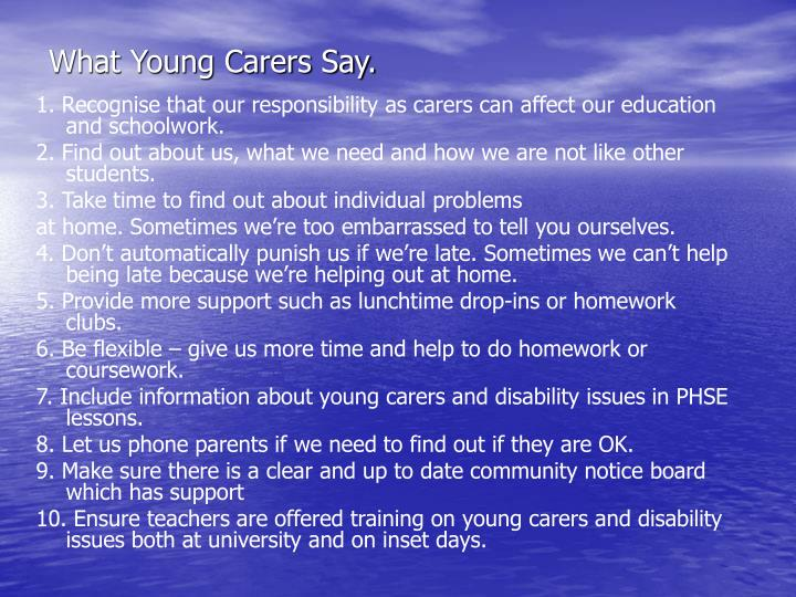 What Young Carers Say.