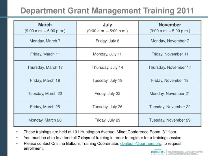 Department Grant Management Training 2011
