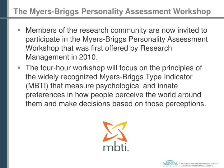 The Myers-Briggs Personality Assessment Workshop