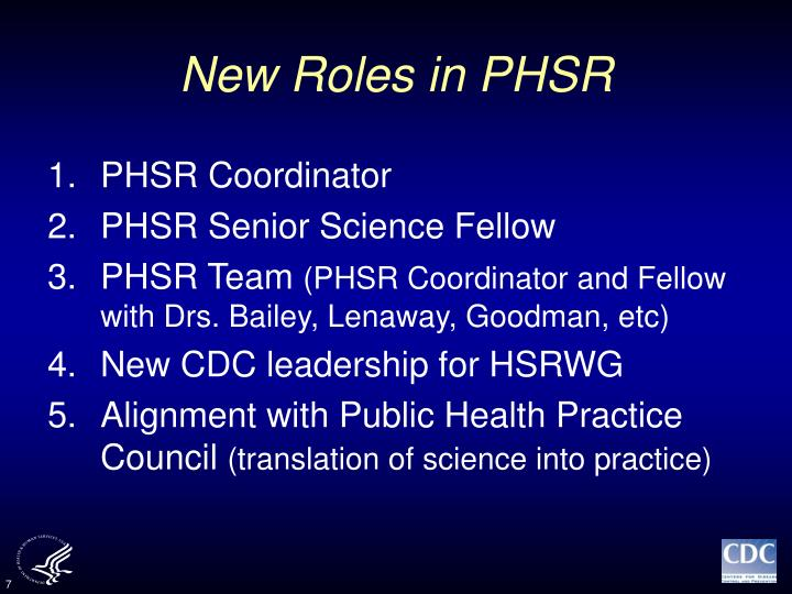 New Roles in PHSR