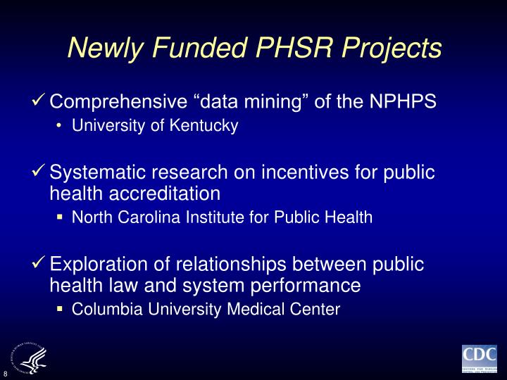 Newly Funded PHSR Projects