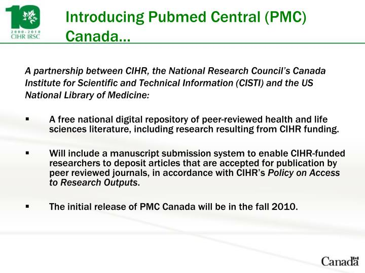 Introducing Pubmed Central (PMC) Canada…