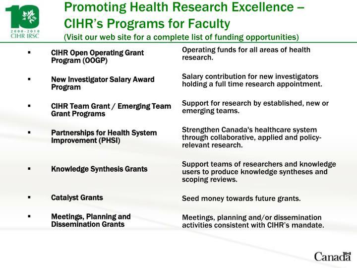 CIHR Open Operating Grant Program (OOGP)