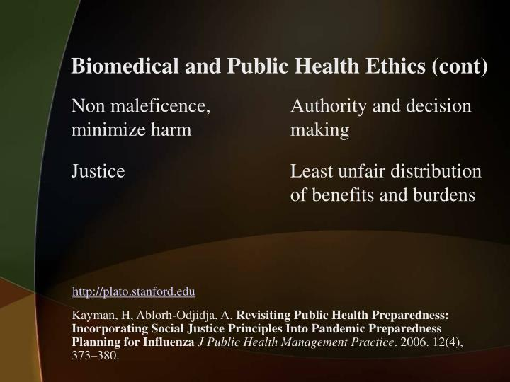 Biomedical and Public Health Ethics (cont)