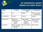 air distribution system options for batch dryers