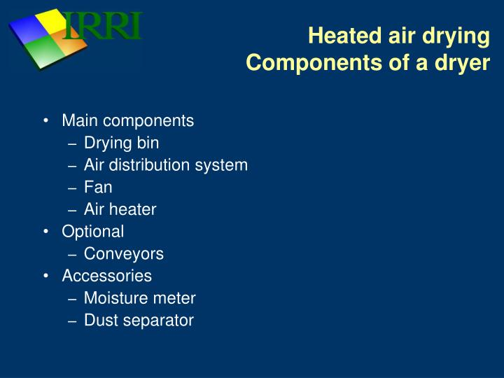 Heated air drying components of a dryer