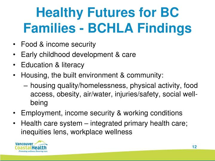 Healthy Futures for BC Families - BCHLA Findings