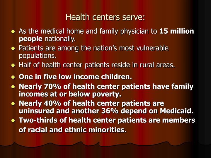 Health centers serve: