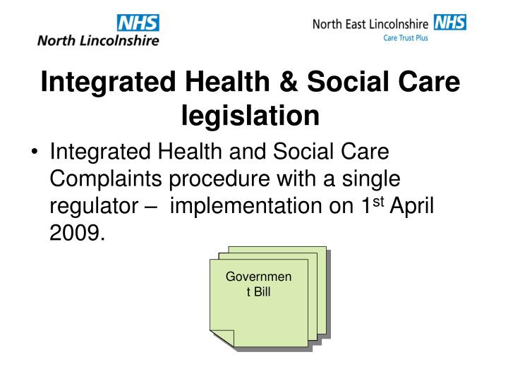 Integrated health social care legislation