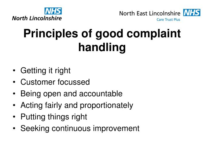 Principles of good complaint handling