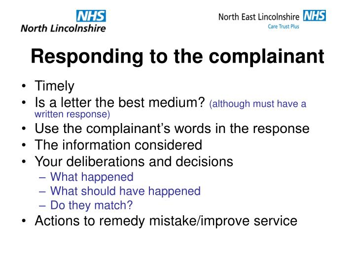Responding to the complainant
