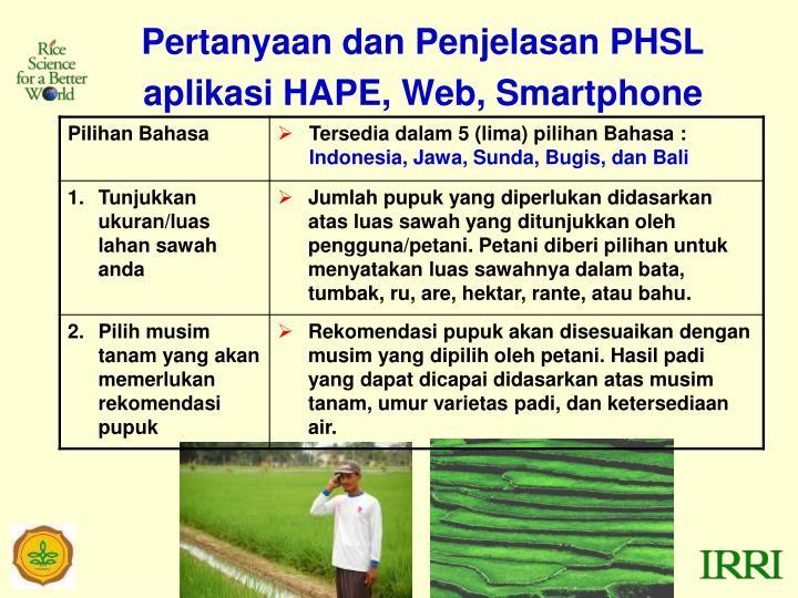 Pertanyaan dan Penjelasan PHSL aplikasi