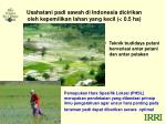 usahatani padi sawah di indonesia dicirikan oleh kepemilikan lahan yang kecil 0 5 ha