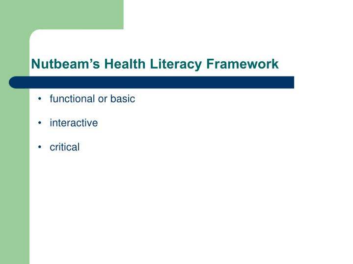 Nutbeam's Health Literacy Framework